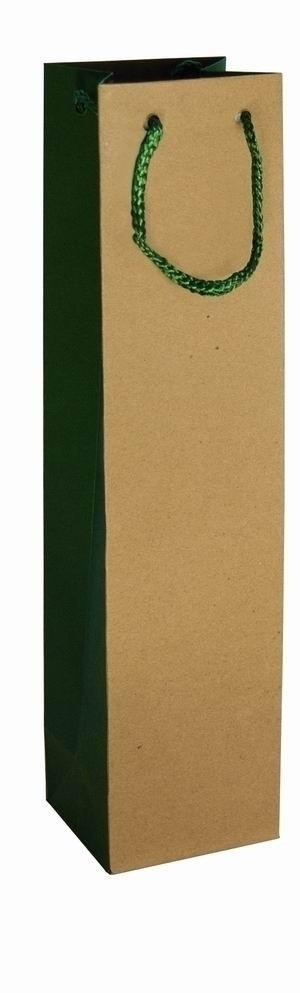 Geschenktüte für 1 Flasche grün - natur