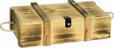 Holzpräsentkassette geflammt für 3 Flaschen