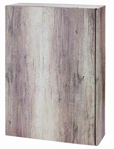 Geschenkkarton Holzoptik Wood für 3 Flaschen
