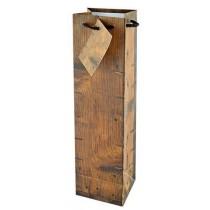 Geschenktüte für 1 Flasche in Holzoptik