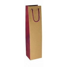 Geschenktüte für 1 Flasche rot - natur