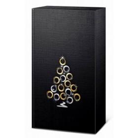 Geschenkkarton Duo schwarz mit Traube gold/silber für 2 Flaschen